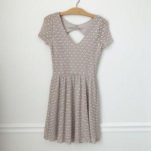 LC Lauren Conrad Taupe-Gray Scallop Dress